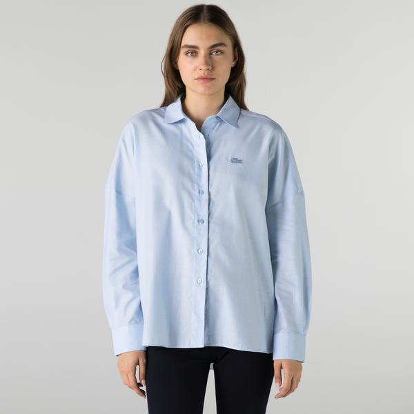 Lacoste Kadın Relaxed Fit Mavi Gömlek