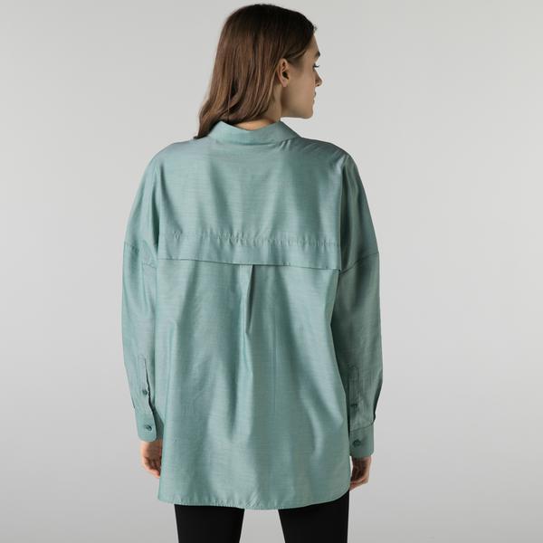 Lacoste Kadın Relaxed Fit Yeşil Gömlek