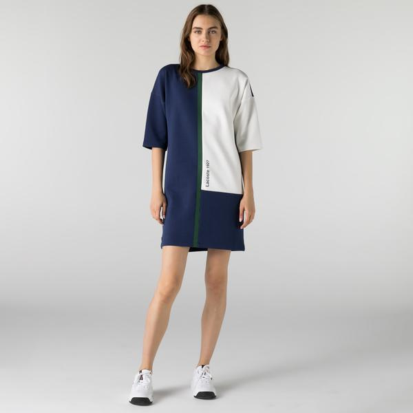 Lacoste Kadın Loose Fit Kısa Kollu Bisiklet Yaka Renk Bloklu Lacivert Elbise