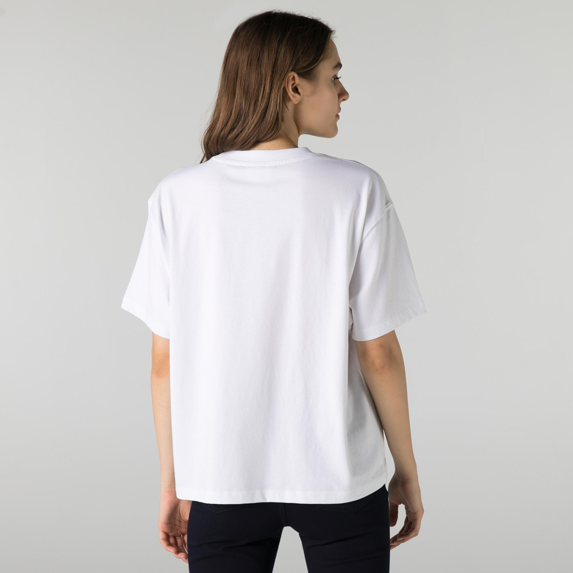 Lacoste L!VE Kadın Loose Fit Bisiklet Yaka Beyaz T-Shirt