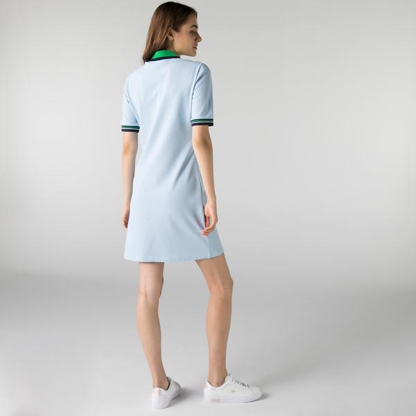 Lacoste Kadın Kısa Kollu Polo Yaka Slim Fit Mavi Elbise