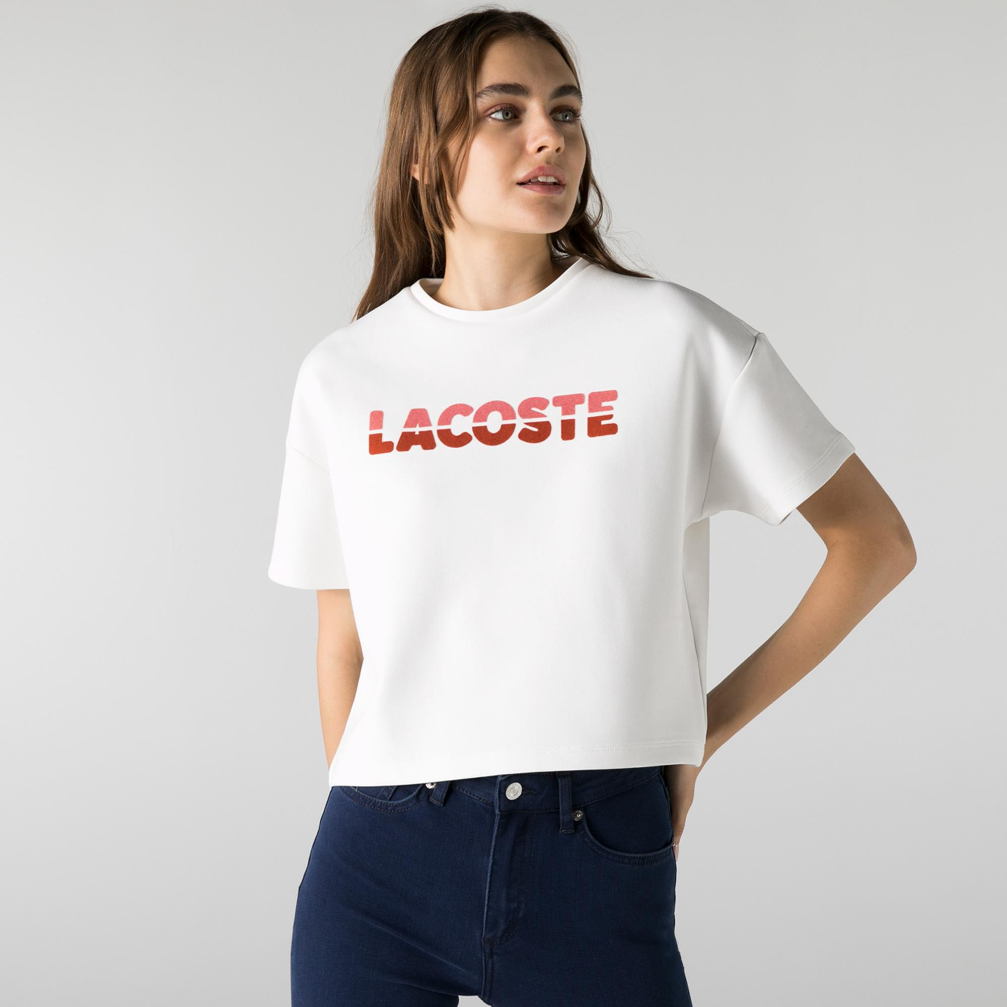 Lacoste Kadın Relaxed Fit Bisiklet Yaka Baskılı Beyaz T-Shirt