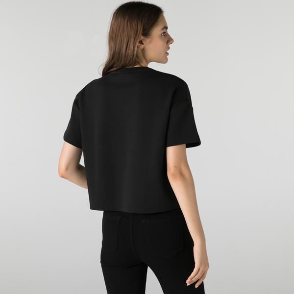 Lacoste Kadın Relaxed Fit Bisiklet Yaka Baskılı Siyah T-Shirt