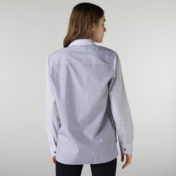 Lacoste Kadın Regular Fit Çizgili Mavi Gömlek