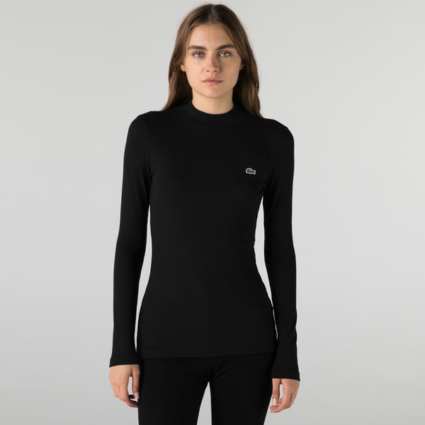 Lacoste Kadın Slim Fit Uzun Kollu Boğazlı Yaka Siyah T-Shirt