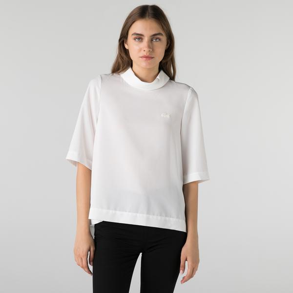 Lacoste Kadın Loose Fit Kısa Kollu Bebe Yaka Beyaz Bluz