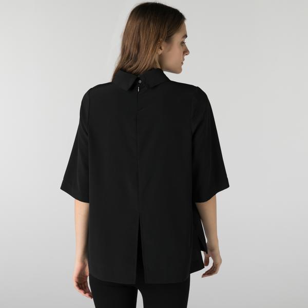 Lacoste Kadın Loose Fit Kısa Kollu Bebe Yaka Siyah Bluz