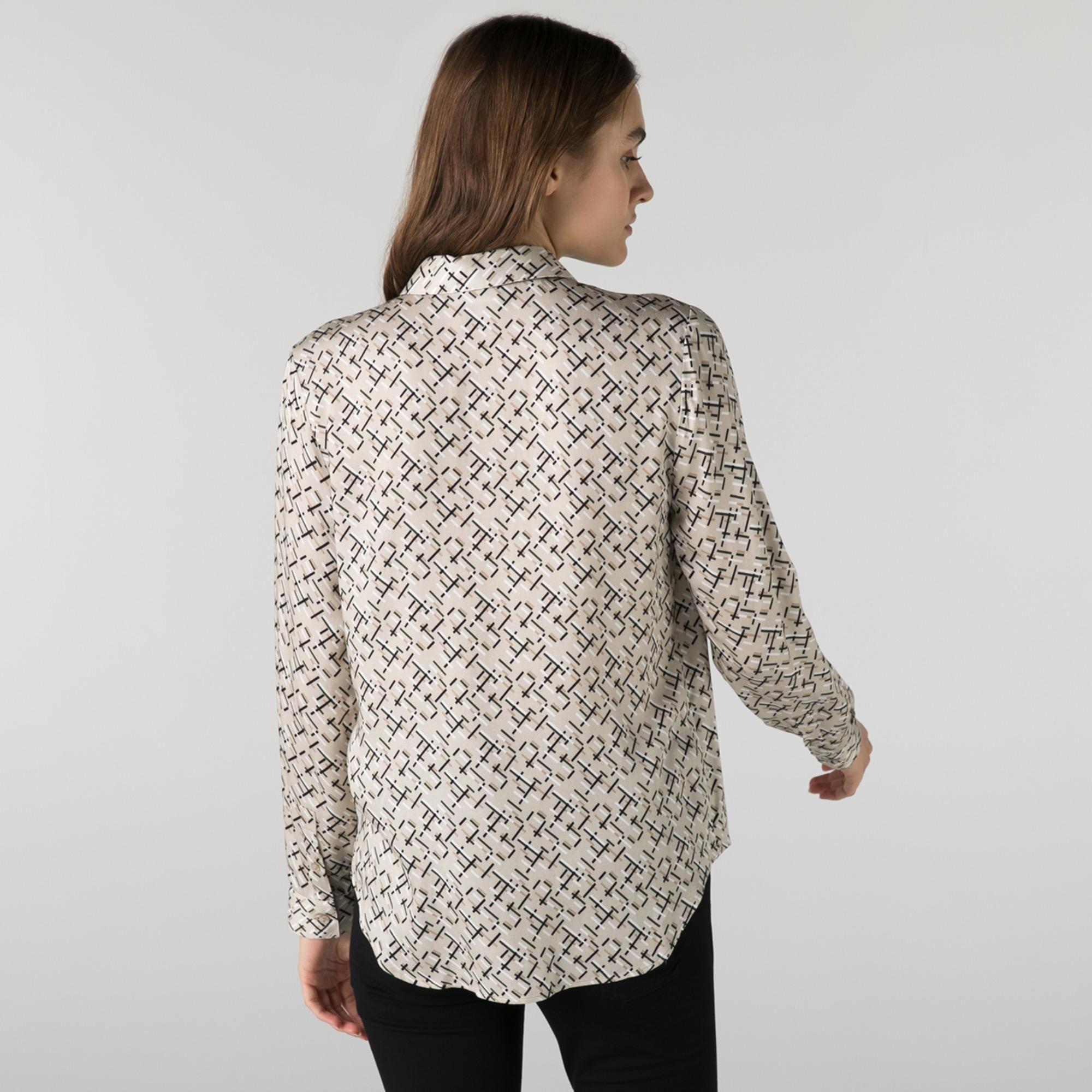Lacoste Kadın Regular Fit Desenli Bej Gömlek