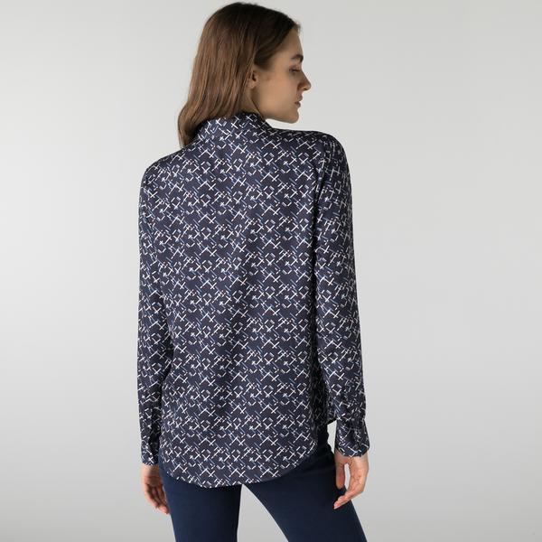 Lacoste Kadın Regular Fit Desenli Lacivert Gömlek