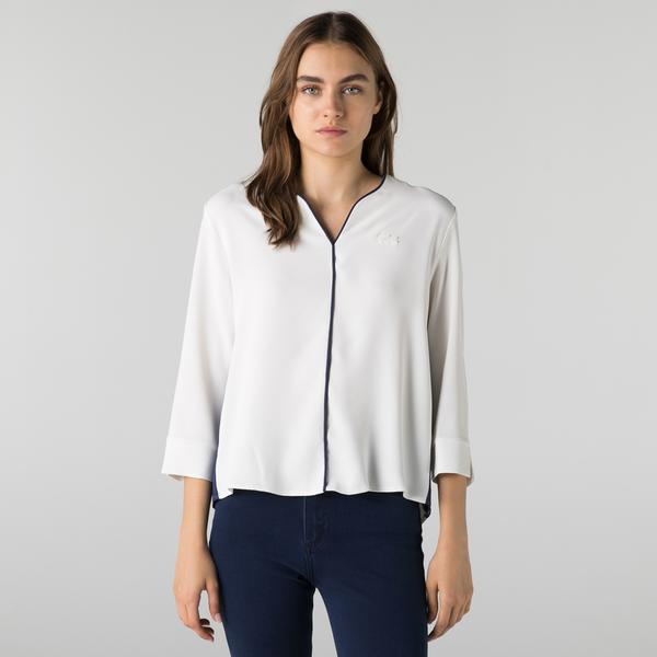 Lacoste Kadın Regular Fit Truvakar Kollu V Yaka Beyaz Bluz