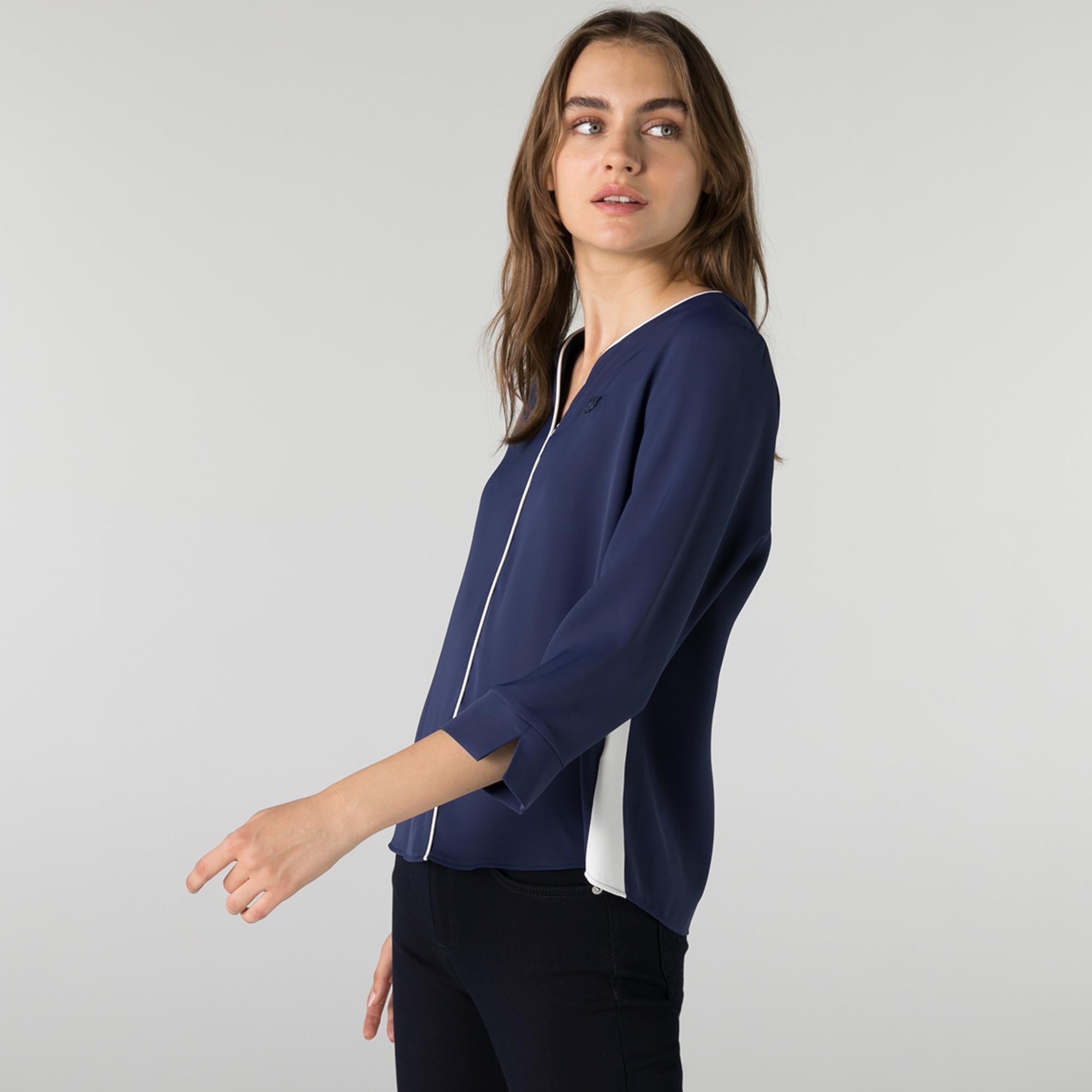 Lacoste Kadın Regular Fit Truvakar Kollu V Yaka Lacivert Bluz