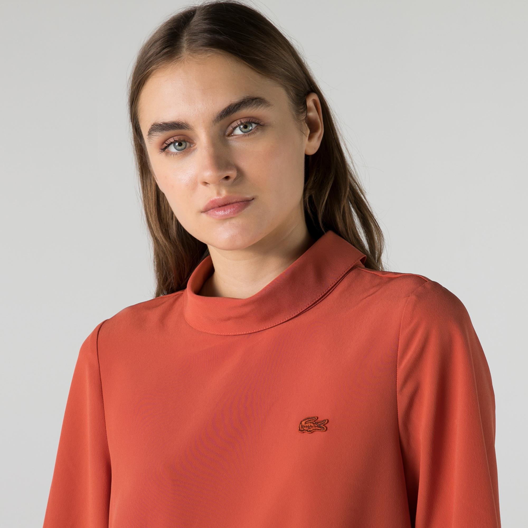 Lacoste Kadın Loose Fit Kısa Kollu Bebe Yaka Turuncu Bluz