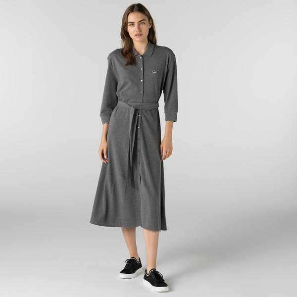 Lacoste Kadın Loose Fit Uzun Kollu Polo Yaka Gri Elbise