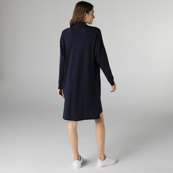 Lacoste Kadın Regular Fit Uzun Kollu Polo Yaka Lacivert Elbise