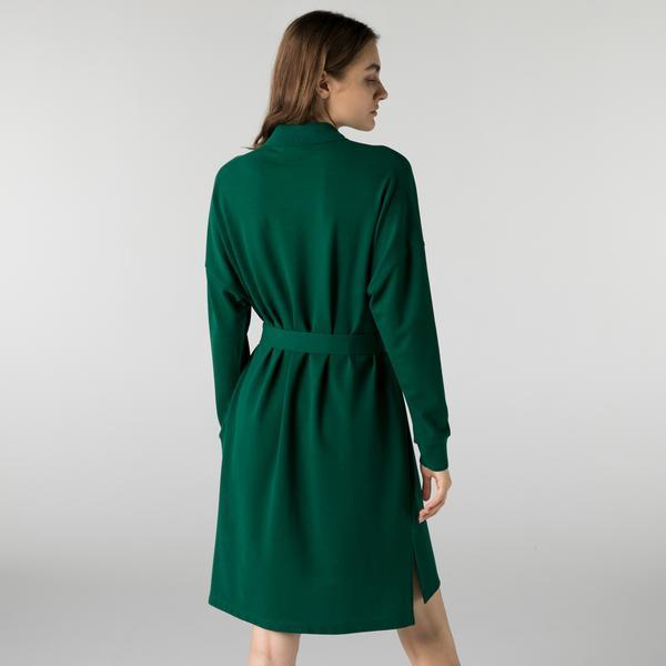 Lacoste Kadın Regular Fit Uzun Kollu Polo Yaka Yeşil Elbise