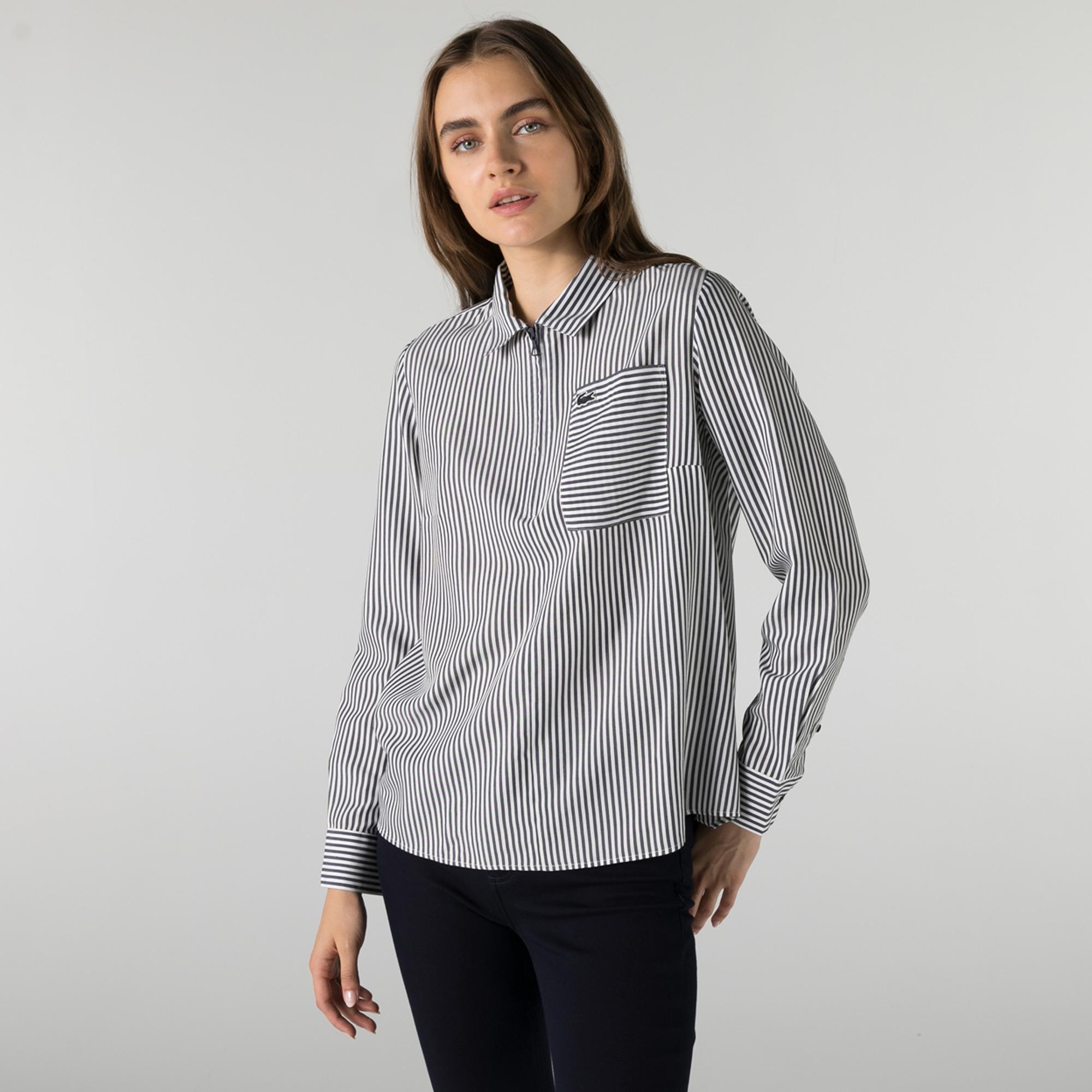 Lacoste Kadın Regular Fit Yarım Fermuarlı Çizgili Lacivert Gömlek