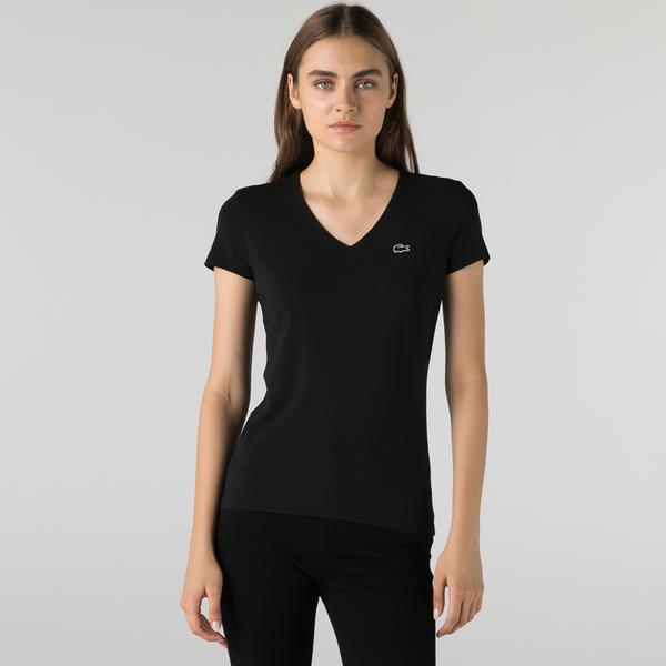 Lacoste Kadın Slim Fit V Yaka Siyah T-Shirt