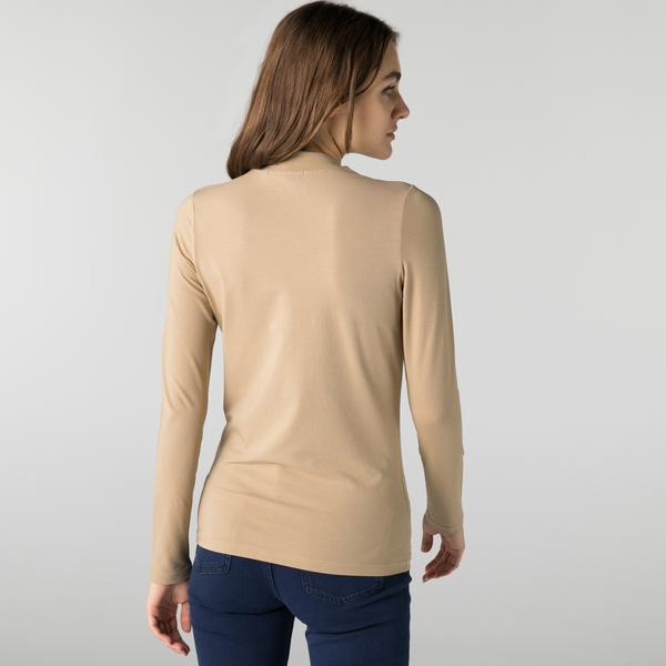 Lacoste Kadın Slim Fit Uzun Kollu Boğazlı Yaka Bej T-Shirt