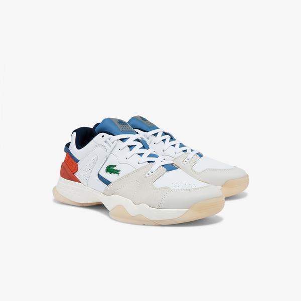 Lacoste T-Point 0121 3 Sma Erkek Deri Beyaz - Mavi Sneaker