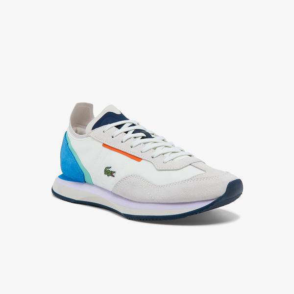 Lacoste Match Break 0121 3 Sfa Kadın Beyaz - Mavi Sneaker