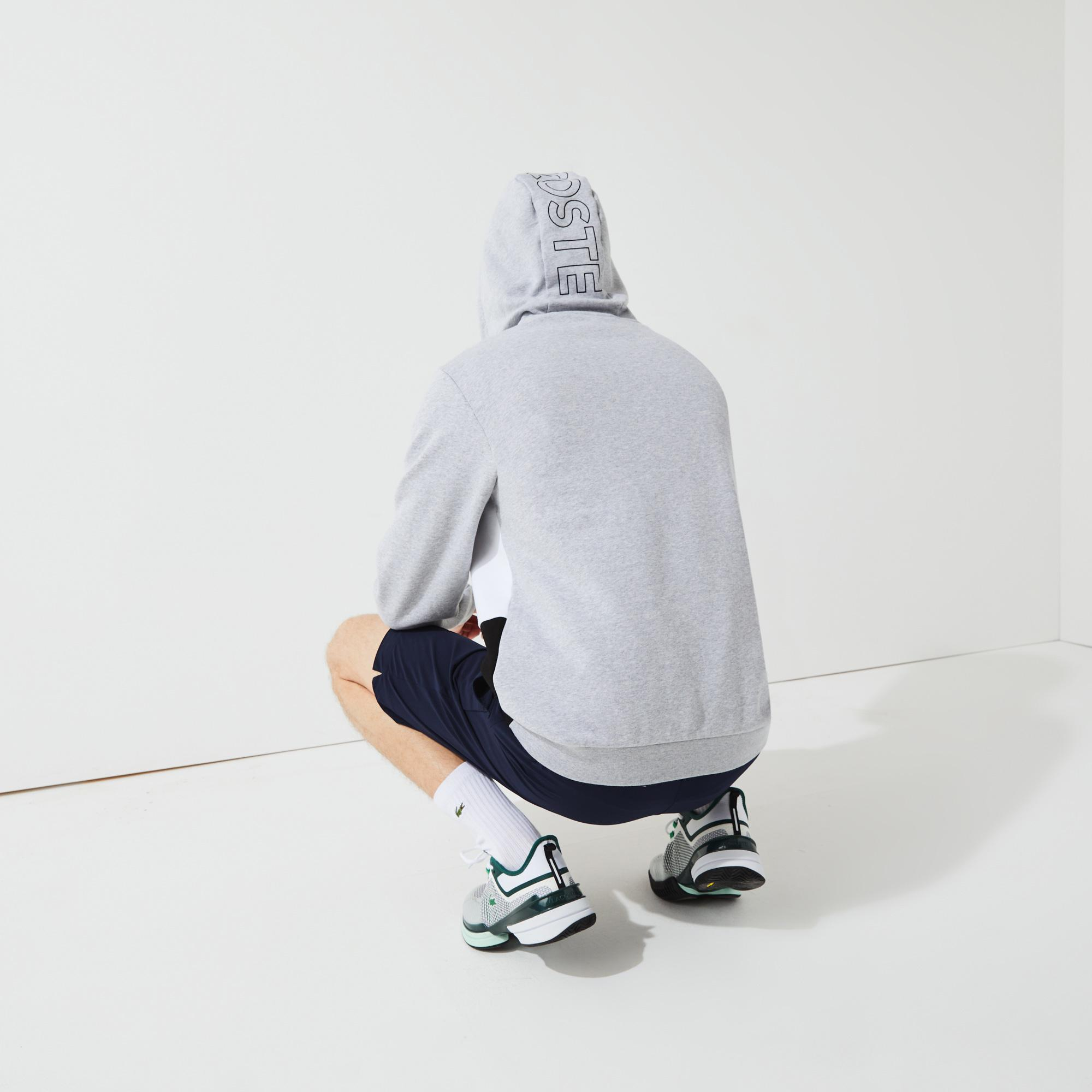 Lacoste Erkek Classic Fit Kapüşonlu Renk Bloklu Gri Sweatshirt