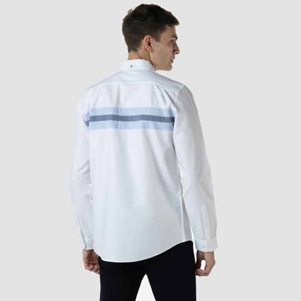 Lacoste Erkek Slim Fit Renk Bloklu Beyaz Gömlek