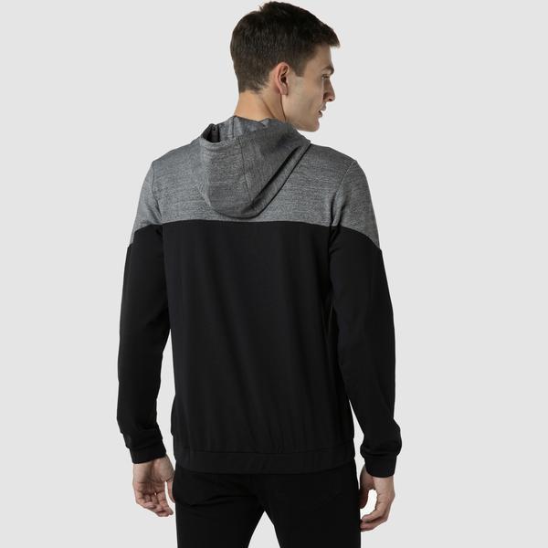 Lacoste Erkek Slim Fit Kapüşonlu Renk Bloklu Gri Sweatshirt