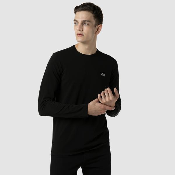 Lacoste Erkek Regular Fit Uzun Kollu Bisiklet Yaka Siyah T-Shirt