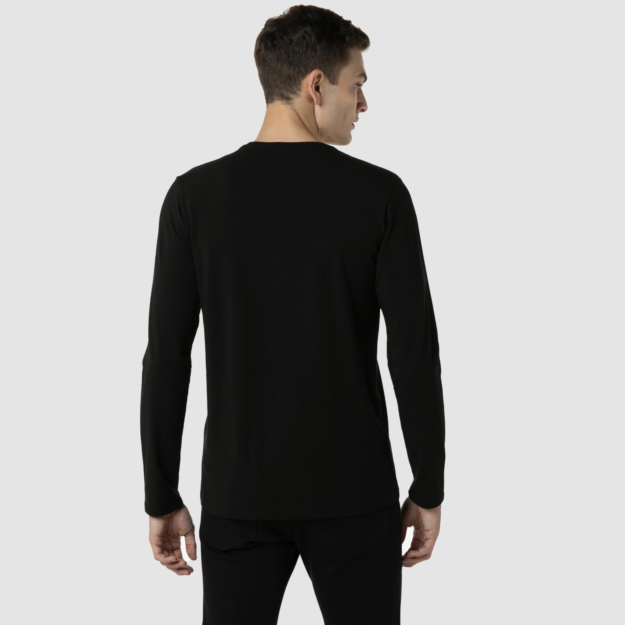 Lacoste Erkek Regular Fit Uzun Kollu V Yaka Siyah T-Shirt