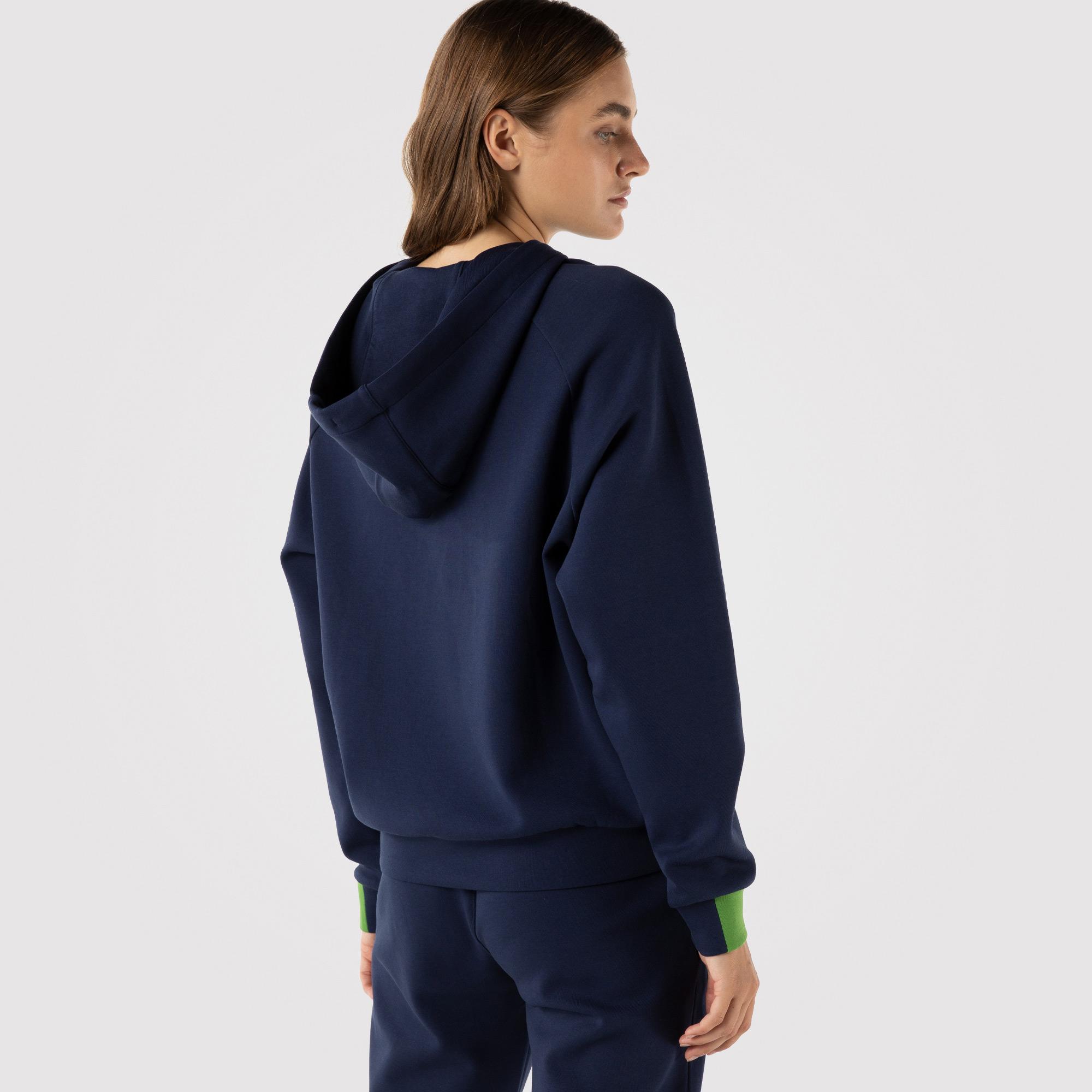 Lacoste SPORT Kadın Regular Fit Kapüşonlu Lacivert Sweatshirt