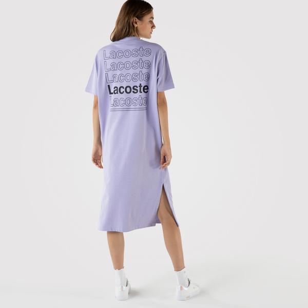 Lacoste L!VE Kadın Regular Fit Kısa Kollu Bisiklet Yaka Baskılı Lila Elbise