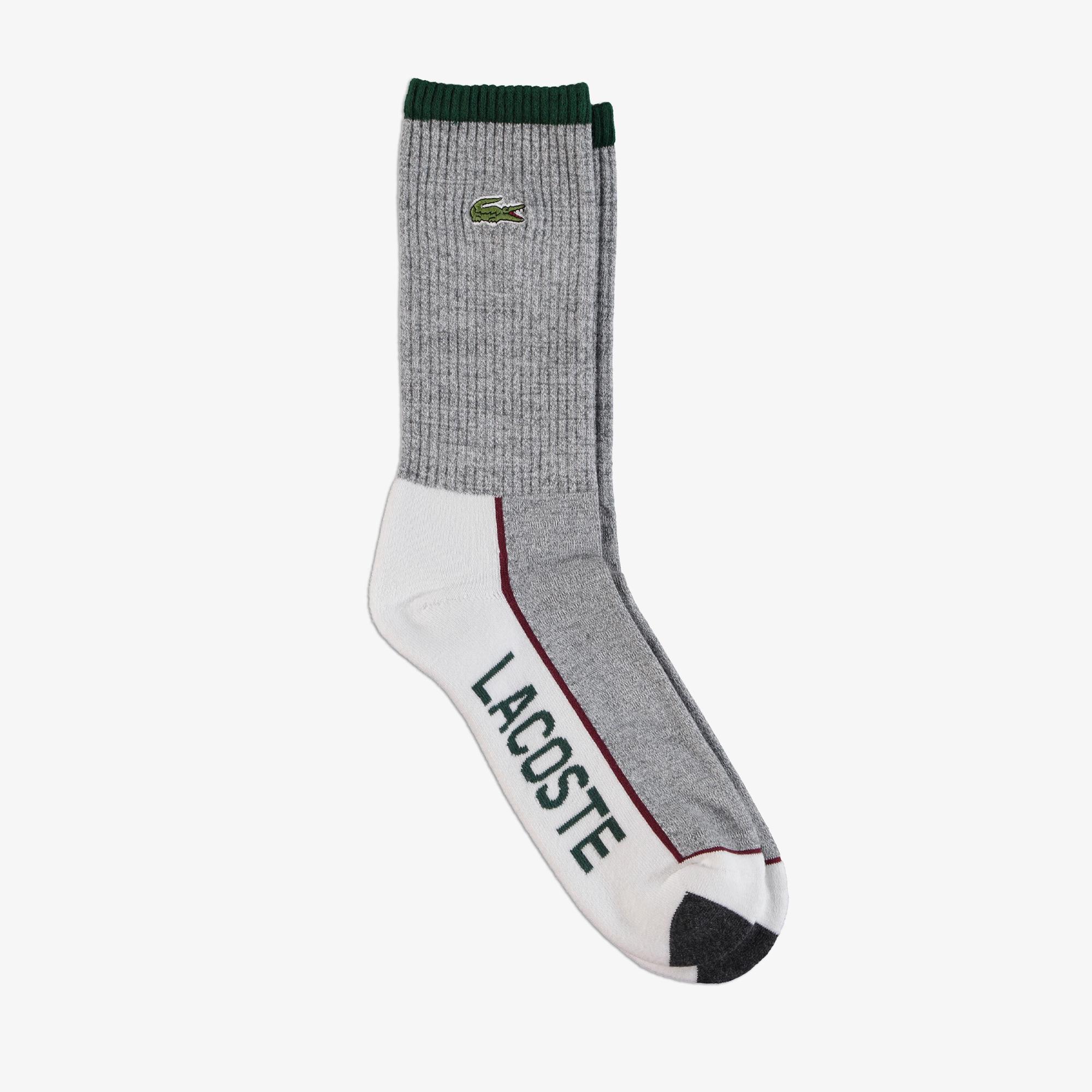 Lacoste Erkek Uzun Baskılı Gri Çorap