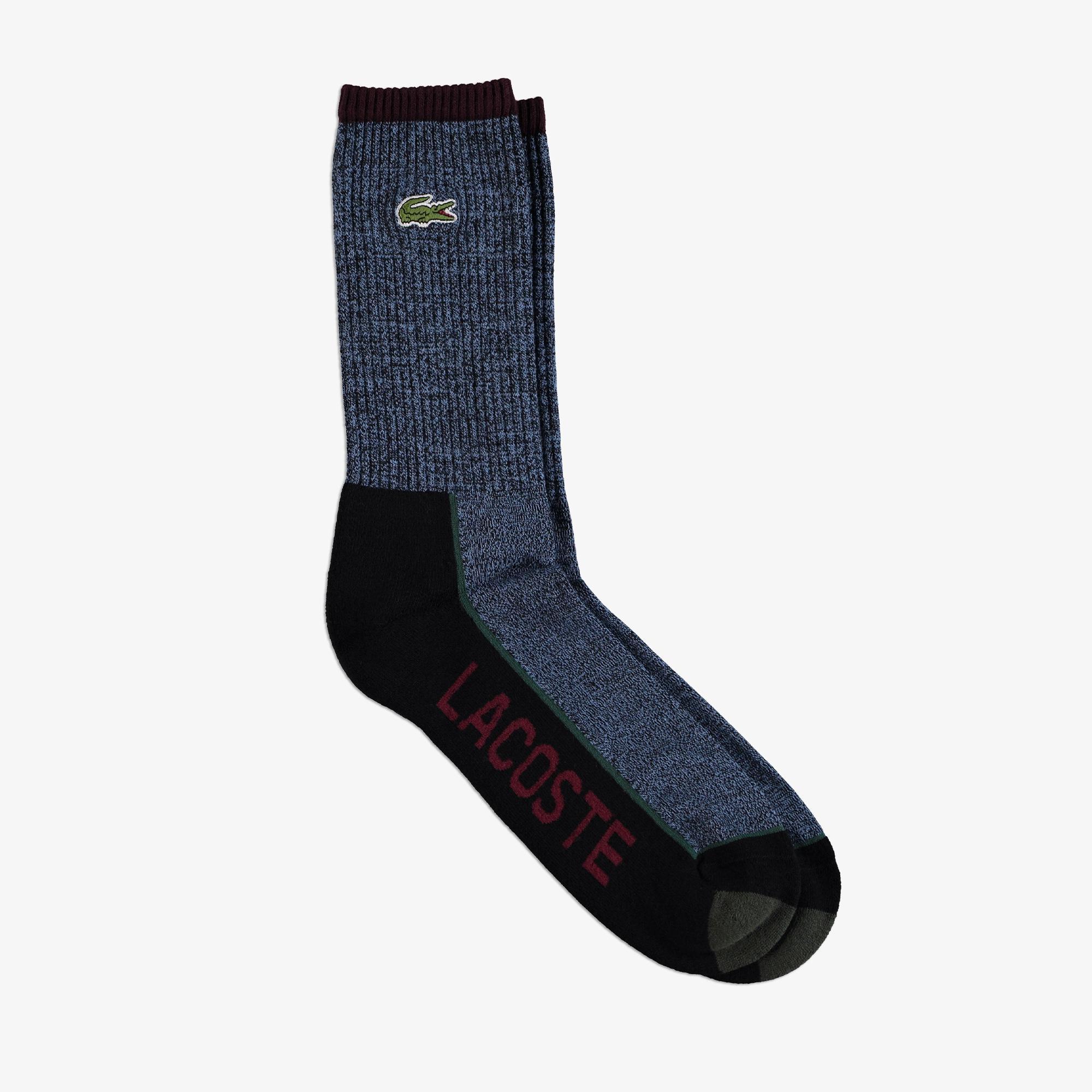Lacoste Erkek Uzun Baskılı Siyah Çorap