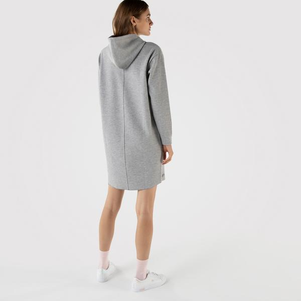 Lacoste Kadın Loose Fit Uzun Kollu Kapüşonlu Baskılı Gri Elbise
