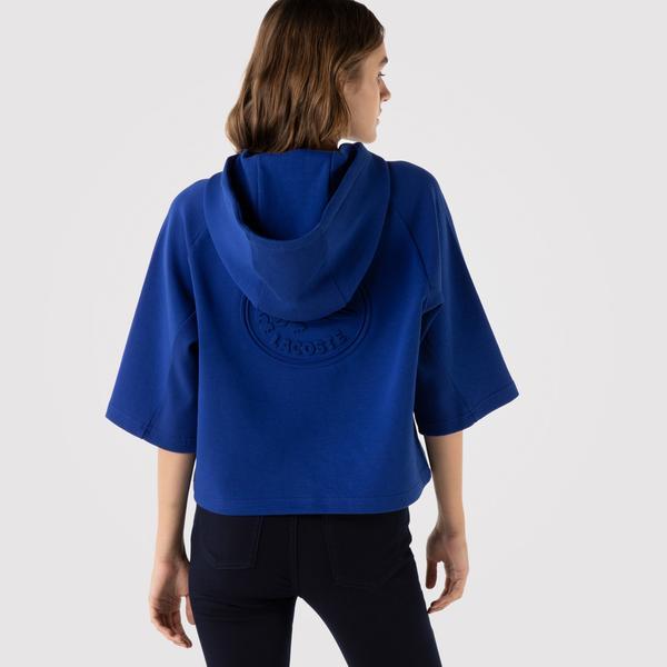 Lacoste Kadın Relaxed Fit Kapüşonlu Baskılı Mavi Sweatshirt