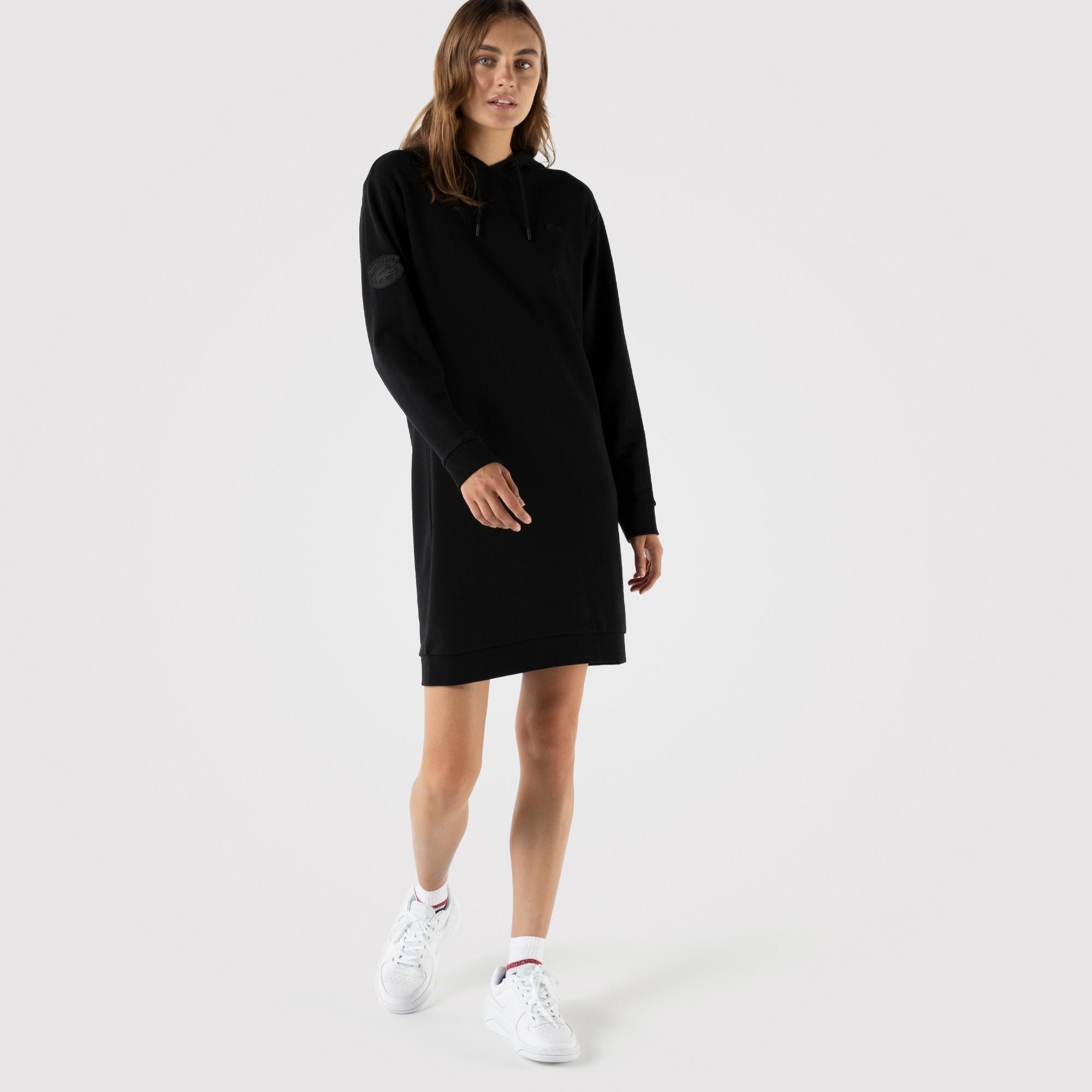 Lacoste Kadın Loose Fit Uzun Kollu Kapüşonlu Siyah Elbise