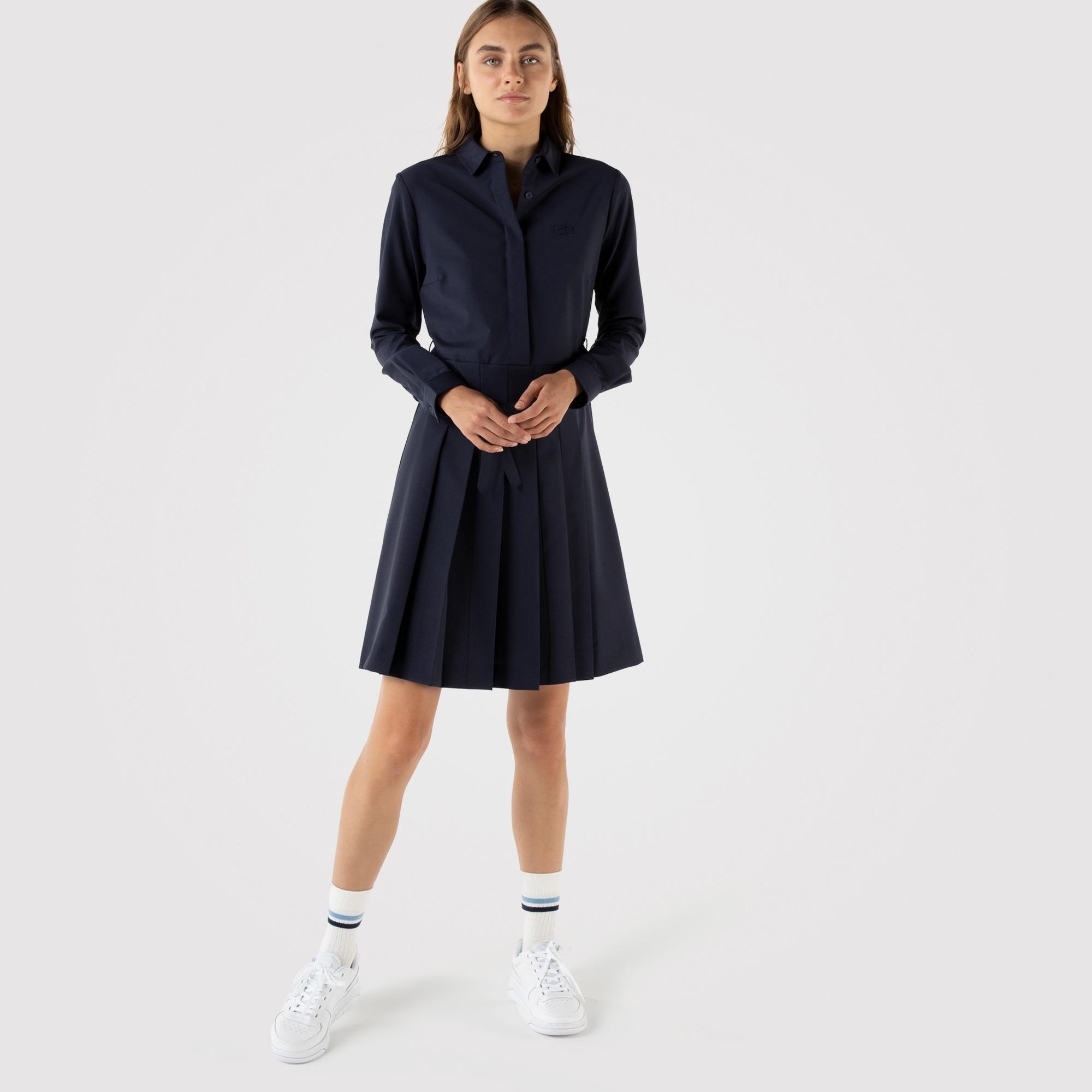 Lacoste Kadın Regular Fit Uzun Kollu Gömlek Yaka Lacivert Elbise