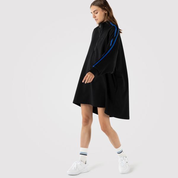 Lacoste Kadın Relaxed Fit Uzun Kollu Dik Yaka Çizgili Siyah Elbise