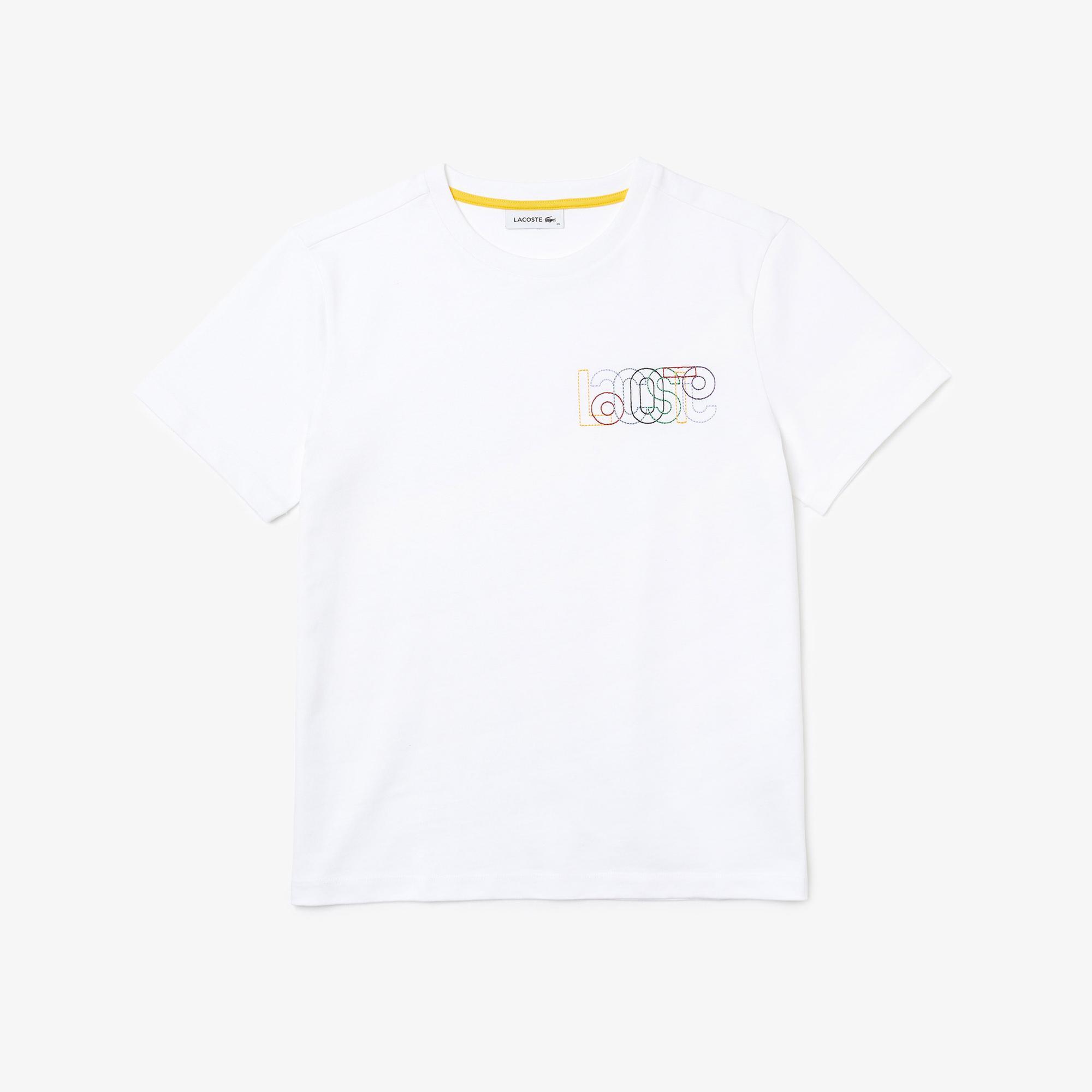 Lacoste Kadın Regular Fit Bisiklet Yaka Desenli Beyaz T-Shirt