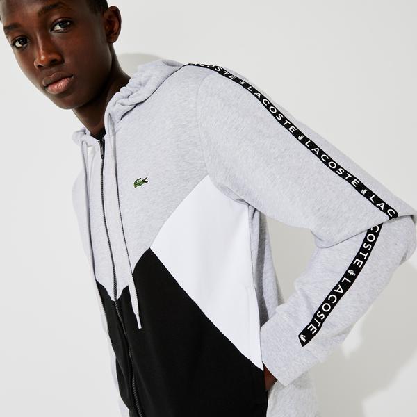 Lacoste Erkek Classic Fit Fermuarlı Renk Bloklu Gri Sweatshirt