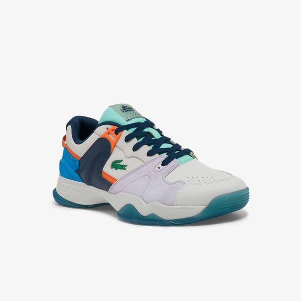 Lacoste T-Point 0121 1 P Sma Erkek Deri Beyaz - Mor Sneaker
