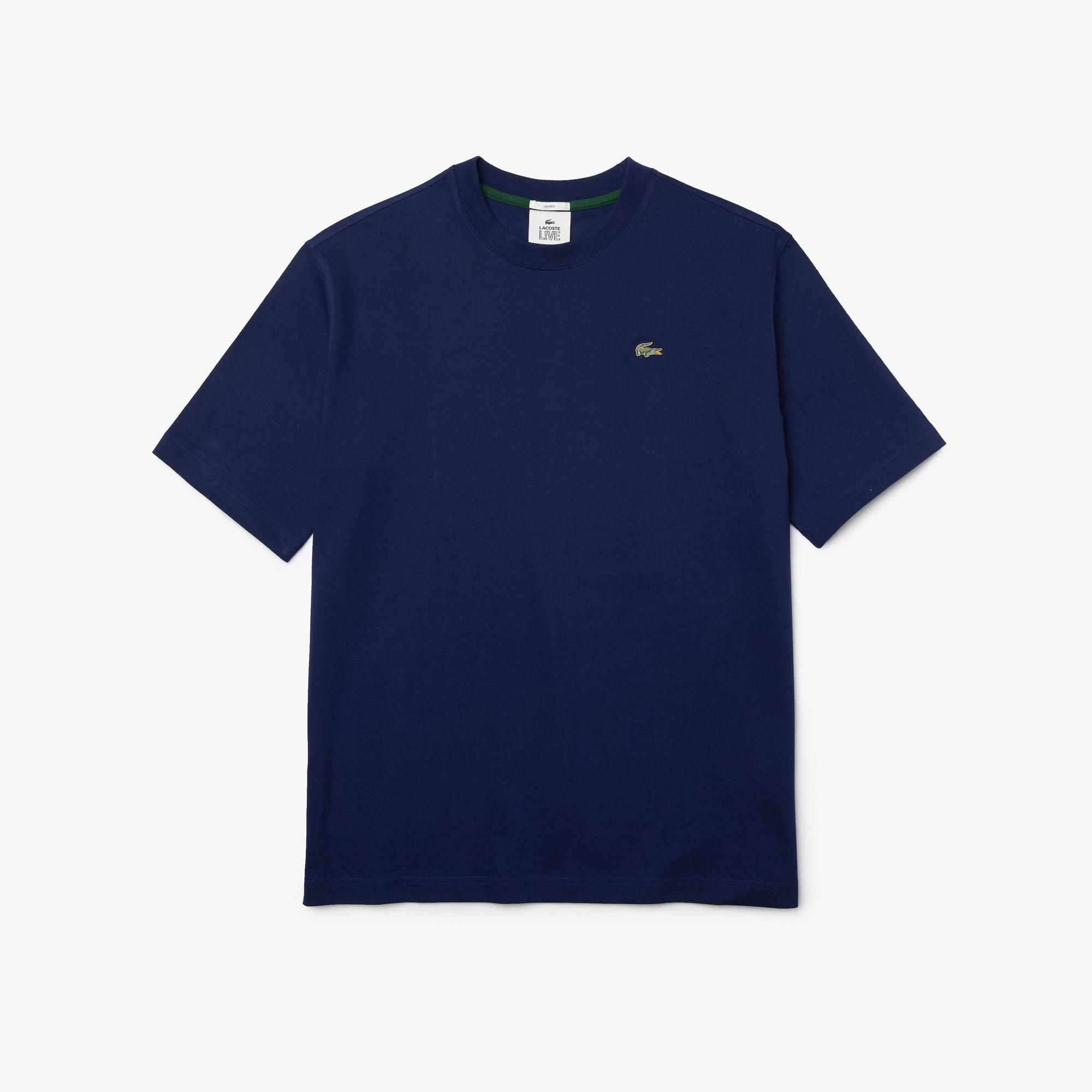 Lacoste L!VE Unisex Loose Fit Bisiklet Yaka Lacivert T-Shirt