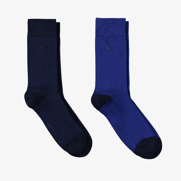 Lacoste Erkek Uzun Desenli 2'li Lacivert Çorap