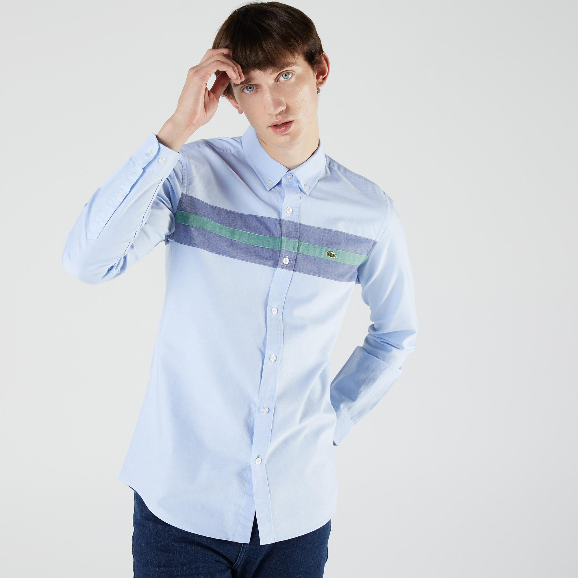 Lacoste Erkek Slim Fit Renk Bloklu Mavi Gömlek