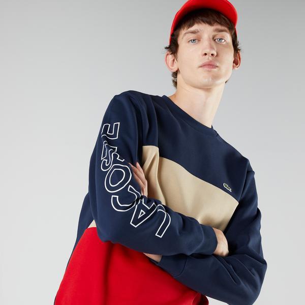 Lacoste Erkek Classic Fit Bisiklet Yaka Renk Bloklu Lacivert Sweatshirt