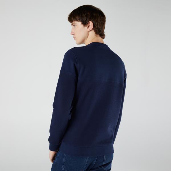 Lacoste Erkek Regular Fit Uzun Kollu Bisiklet Yaka Renk Bloklu Lacivert Sweatshirt