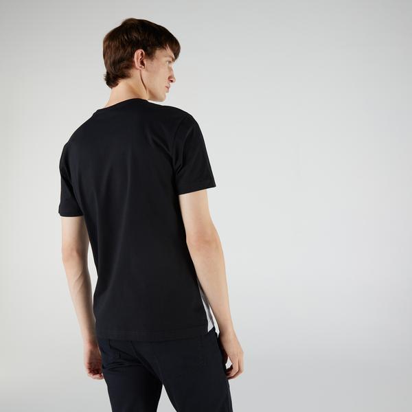 Lacoste Erkek Regular Fit Kısa Kollu Bisiklet Yaka Renk Bloklu Siyah T-Shirt
