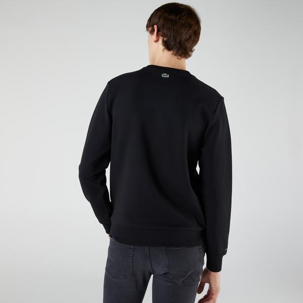 Lacoste Erkek Regular Fit Bisiklet Yaka Baskılı Siyah Sweatshirt
