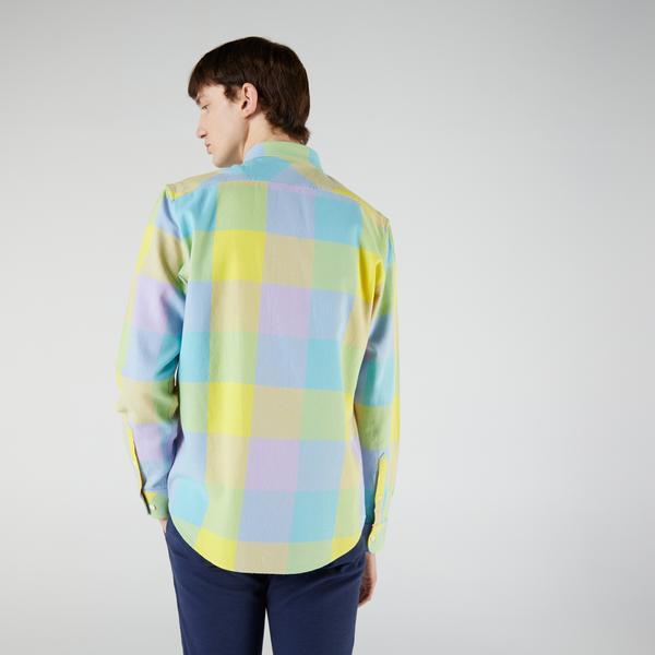 Lacoste L!VE Unisex Regular Fit Ekose Renkli Gömlek
