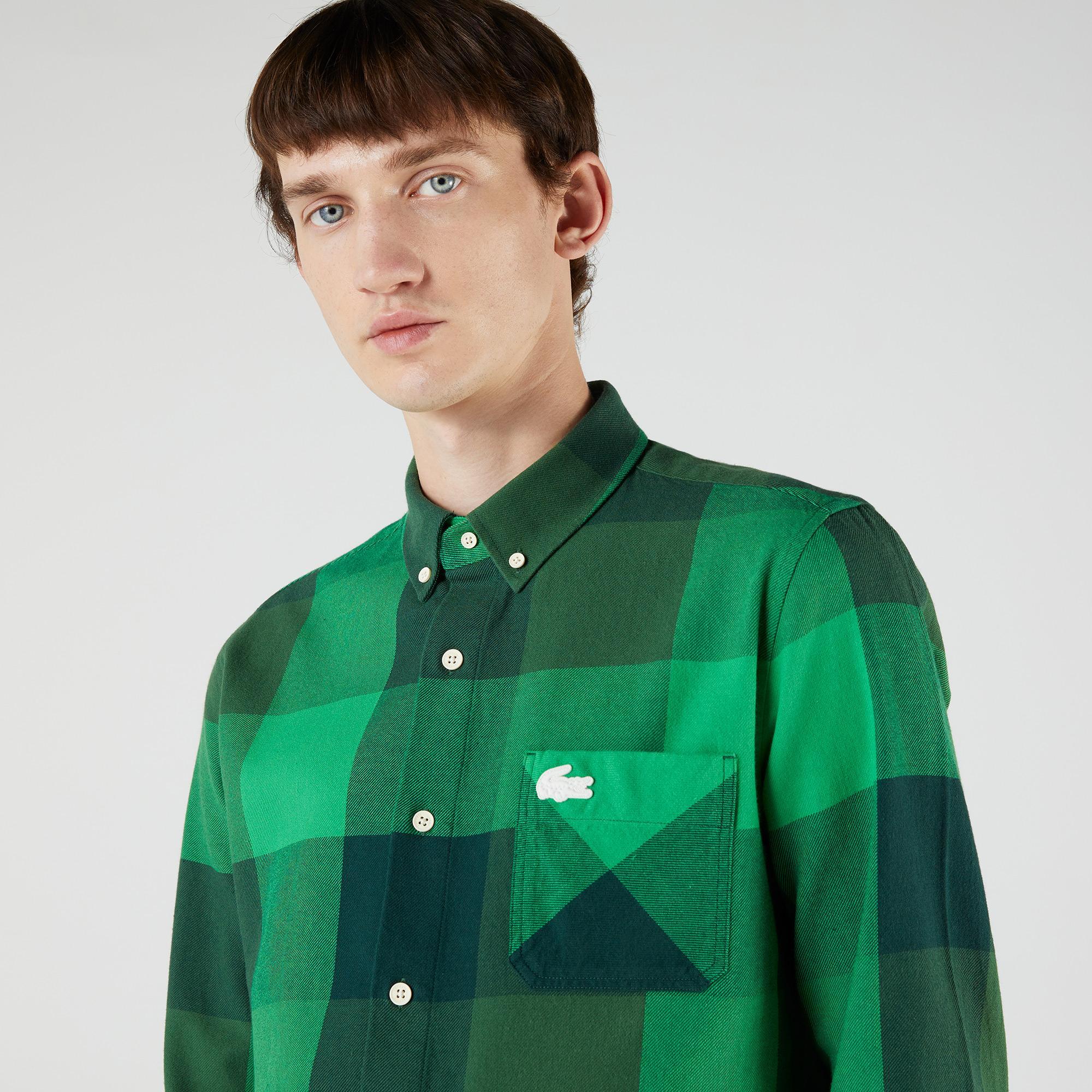 Lacoste L!VE Unisex Regular Fit Ekose Yeşil Gömlek